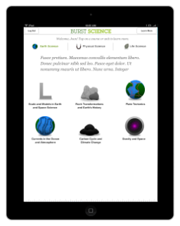 Burst Science Units view on iPad